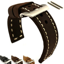 Genuine Leather Hand-Stitched Watch Strap Band Sirius SS. Buckle Spring Bars
