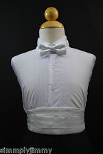 Toddler Boy Baby WHITE Cummerbund Cumberband + Bow tie Set Tuxedo Suit Sz S-28