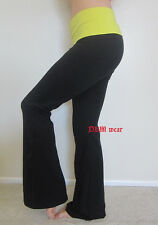 Black Yoga Fitness Gym Long Pants With Lime Yellow Color Fold Over Waist  S,M,L