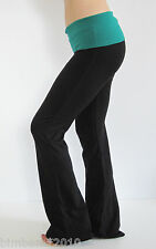 Black Yoga Fitness Gym Long Pants With Kelly Green Color Fold Over Waist  S,M,L