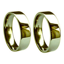 6mm 9ct Yellow Gold Wedding Rings Flat Court Profile Extra Heavy Band 375 UK HM