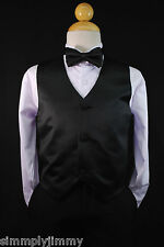 Todder & Kids BLACK VEST + BOW TIE/ LONG NECK TIE Boy Suit & Tuxedo Sz S-28