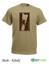 Rock Climbing Wall Climb Indoor Outdoor Mens T-SHIRT M-2XL FREE P&P - khaki