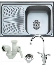 1.0 Bowl Stainless Steel Kitchen Sink With Plumbing Kit-Choice of Taps