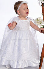 LITTLE GIRLS BAPTISM DRESS & CAPE BABIES CHRISTENING GOWNS TODDLERS WHITE OUTFIT