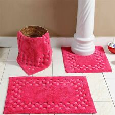 Homescapes Luxury Super Soft Heavy Check Border Cotton Bathroom Mats Cerise Pink