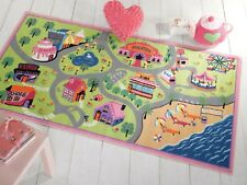 Childrens Girls World Washable Play Rug in Two Sizes