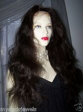 Silk Top 100% Human Hair Remi Remy Full Lace Wig Wigs #1B Custom Made + Qualitiy
