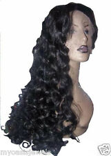 Silk Top Remi Remy Full Lace Wig Wigs Human Hair 1B Off Black Long Curly Premium