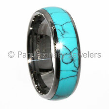 Turquoise Tungsten Ring Unisex Dome  Dyed Inlay 8mm Band Comfort Fit