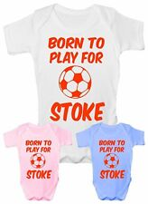 Born to Play For Stoke City Football Babygrow Vest Baby Clothing Funny Gift
