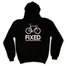 FIXED GEAR BIKE FIXIE BICYCLE AWESOM PRINT HOODED TOP HOODIE ALL COLS & SIZES