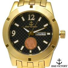 New Mens HMS Victory Battleship Historical Day Date Watch - Gold or Silver