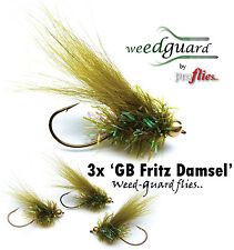 NEW!! Fly Fishing  *WeedGuard* GOLDHEAD FRITZ DAMSEL Weed Resistant Trout Flies
