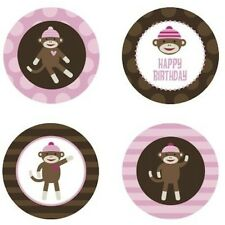 Sock Monkey Girl {Pink} Edible Cupcake Toppers Decoration