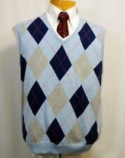 "BROOKS BROTHERS ""346"", COTTON KNIT PULLOVER VEST, BLUE ARGYLE, NWT"