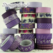 Paper Washi Masking Tape Adhesive Roll Decorative Card Craft Trim PURPLE Set