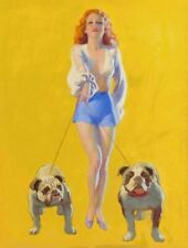 Vintage Pin-Up Girl With Bulldogs Earl Moran PINUP159 Print Canvas A4 A3 A2 A1