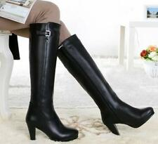 Women genuine leather knee high zip up high heeled riding boots