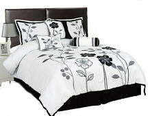 7 Piece White, Grey,and Black Lily with Leaf Applique Comforter Set/Bed-In-A-Bag