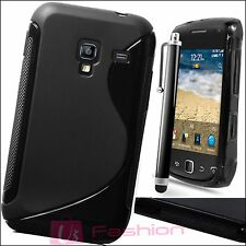BLACK S-LINE SILICONE GRIP GEL CLIP ON CASE COVER SKIN FOR ALL NEW MOBILE PHONES