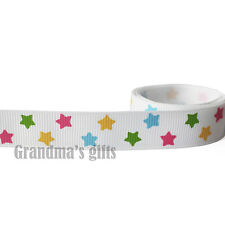 "5/8""16mm White Stars Grosgrain Ribbon 5/50/100 Yards Hairbow Wholesale"