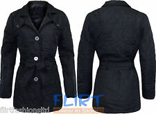 Women Diamond Quilted Jacket Ladies Belted Bar-Ber Long Casual Warm Coats 10-16