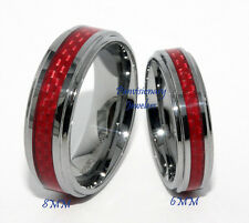 6MM Red Carbon Fiber CF Inlay Comfort Tungsten Carbide Wedding Band Ring