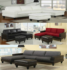 Sectional Sofa in Microfiber and Leather W/Free Ottoman Sectional Couch Sofas