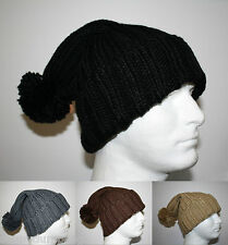 LONG CABLE KNIT POM BEANIE WINTER WARM SLOUCHY HAT - BLACK GRAY BROWN BEIGE