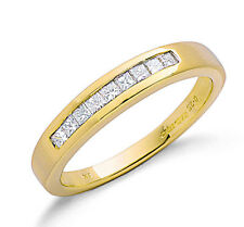 9ct Yellow Gold 0.25ctw Real Diamond Princess Cut Eternity Ring - Made in London