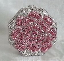 Pink/Silver/Aurora Borealis Rose Shape Crystals Cosmetic Wedding Evening Bag