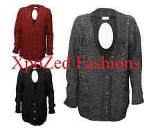 LADIES WOMEN BOYFRIEND CARDIGAN LONG SLEEVE KNITTED BUTTON WITH POCKET ONE SIZE