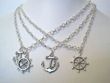 *NAUTICAL ANCHOR / HELM CHARM* Choice Silver Plated Necklace Sailing Gift Bag