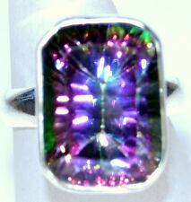 Solid Chunky 925 Sterling SILVER Rings Purple Green Multi Fire Mystic Topaz Ring
