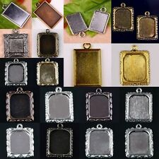 Wholesale Metal Oblong Shape Rectangle Photo Frame Charms Pendant Fit Necklace