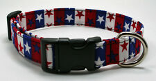 Handmade Custom Designer Wide Stars & Stripes Dog Collar
