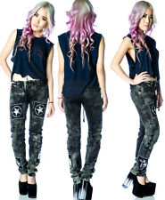 TOO FAST GOTHIC PUNK JEANS ROCKABILLY SKINNY SLIM TRIPP-Y MOTO DENIM PANTS GOTH