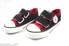Toddler Shoes Black & Red Velcro Ankle Sneakers For Boys Girls 7 8 8.5 9.5 10 11