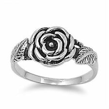 Flower Rose With Leafs Sterling Silver 925 Ring Sizes 5,6,7,8,9 Women's