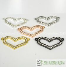 10pcs Curved Side Ways Crystal Rhinestones Heart Bracelet Connector Charm Beads