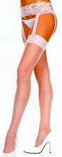 Music Legs 7800 Sheer All-in-one Lace Garter Belt Stockings 1X Queen White Nude