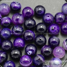 Natural Purple Agate Gemstone Stripe Round Beads 15.5'' Strand 6mm 8mm 10mm 12mm