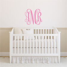 22x25 XL MONOGRAM wall decal INITIALS vinyl lettering bedroom decal (W00931)