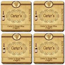 Personalized Coasters set of 4 High Gloss Hard Board Any Name Wine Label Awesome