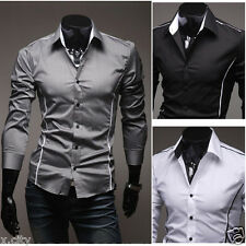 Stylish Sexy! New Mens Sexy Formal Casual Suits Slim-Fit Dress Shirt-SS