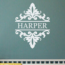 21x16 DAMASK MONOGRAM NAME wall decal shabby chic style vinyl lettering (W00937