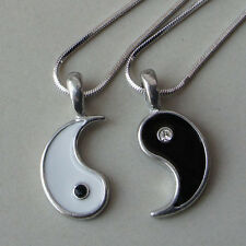 Split Yin Yang Love Best Friend Black/Clear Crystal Silver Pewter Pendant