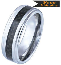 Genuine Black Carbon Fiber Inlay  Step Edge Tungsten  Carbide Ring-KS4-1RB