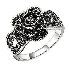 marcasite Ring sz 7 8 9 6 Swarovski crystal rose vintage ring 18k white GP R258